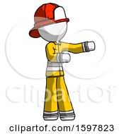 White Firefighter Fireman Man Presenting Something To His Left