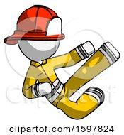 White Firefighter Fireman Man Flying Ninja Kick Right