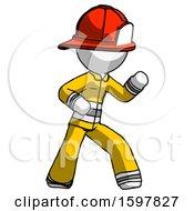 White Firefighter Fireman Man Martial Arts Defense Pose Right