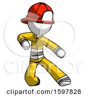 White Firefighter Fireman Man Karate Defense Pose Right