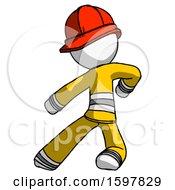 White Firefighter Fireman Man Karate Defense Pose Left