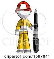 White Firefighter Fireman Man Holding Large Pen