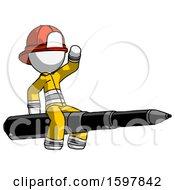 White Firefighter Fireman Man Riding A Pen Like A Giant Rocket