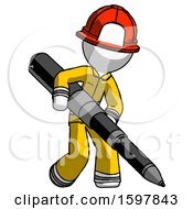 White Firefighter Fireman Man Writing With A Really Big Pen