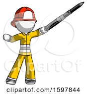 White Firefighter Fireman Man Demonstrating That Indeed The Pen Is Mightier