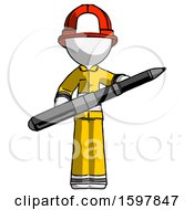 White Firefighter Fireman Man Posing Confidently With Giant Pen