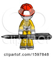 White Firefighter Fireman Man Weightlifting A Giant Pen