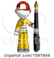 Poster, Art Print Of White Firefighter Fireman Man Holding Giant Calligraphy Pen