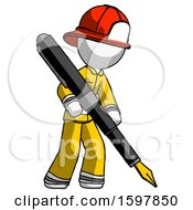 Poster, Art Print Of White Firefighter Fireman Man Drawing Or Writing With Large Calligraphy Pen