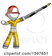 Poster, Art Print Of White Firefighter Fireman Man Pen Is Mightier Than The Sword Calligraphy Pose