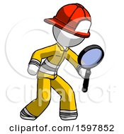 White Firefighter Fireman Man Inspecting With Large Magnifying Glass Right