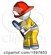 White Firefighter Fireman Man Inspecting With Large Magnifying Glass Left