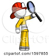 White Firefighter Fireman Man Inspecting With Large Magnifying Glass Facing Up
