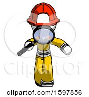 White Firefighter Fireman Man Looking Down Through Magnifying Glass