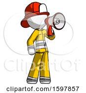 White Firefighter Fireman Man Shouting Into Megaphone Bullhorn Facing Right
