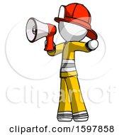 White Firefighter Fireman Man Shouting Into Megaphone Bullhorn Facing Left