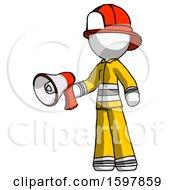 White Firefighter Fireman Man Holding Megaphone Bullhorn Facing Right