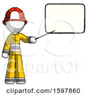 White Firefighter Fireman Man Giving Presentation In Front Of Dry Erase Board