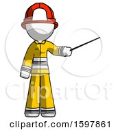 White Firefighter Fireman Man Teacher Or Conductor With Stick Or Baton Directing