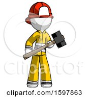White Firefighter Fireman Man With Sledgehammer Standing Ready To Work Or Defend