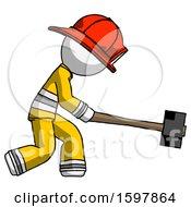 White Firefighter Fireman Man Hitting With Sledgehammer Or Smashing Something