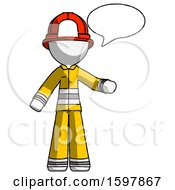 White Firefighter Fireman Man With Word Bubble Talking Chat Icon