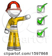 White Firefighter Fireman Man Standing By List Of Checkmarks