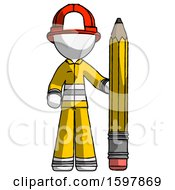 White Firefighter Fireman Man With Large Pencil Standing Ready To Write