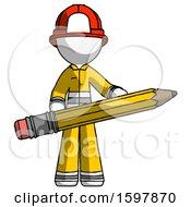 White Firefighter Fireman Man Writer Or Blogger Holding Large Pencil
