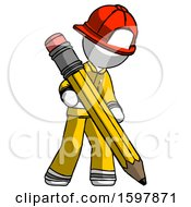 White Firefighter Fireman Man Writing With Large Pencil