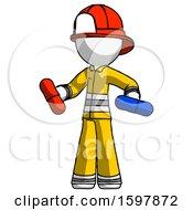 White Firefighter Fireman Man Red Pill Or Blue Pill Concept