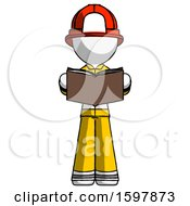 Poster, Art Print Of White Firefighter Fireman Man Reading Book While Standing Up Facing Viewer