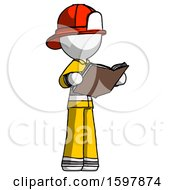 Poster, Art Print Of White Firefighter Fireman Man Reading Book While Standing Up Facing Away