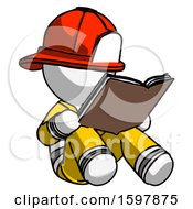Poster, Art Print Of White Firefighter Fireman Man Reading Book While Sitting Down