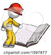 Poster, Art Print Of White Firefighter Fireman Man Reading Big Book While Standing Beside It