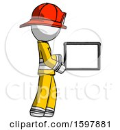 White Firefighter Fireman Man Show Tablet Device Computer To Viewer Blank Area