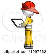 White Firefighter Fireman Man Looking At Tablet Device Computer With Back To Viewer