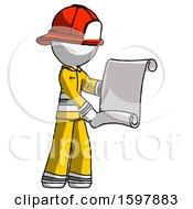 White Firefighter Fireman Man Holding Blueprints Or Scroll
