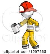 White Firefighter Fireman Man Begger Holding Can Begging Or Asking For Charity Facing Left