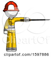 White Firefighter Fireman Man Standing With Ninja Sword Katana Pointing Right
