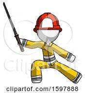 White Firefighter Fireman Man With Ninja Sword Katana In Defense Pose
