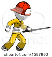 White Firefighter Fireman Man Stabbing With Ninja Sword Katana