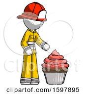 White Firefighter Fireman Man With Giant Cupcake Dessert