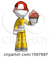 White Firefighter Fireman Man Presenting Pink Cupcake To Viewer