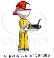 White Firefighter Fireman Man Holding Noodles Offering To Viewer