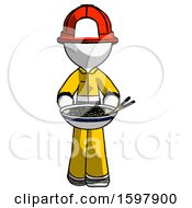 White Firefighter Fireman Man Serving Or Presenting Noodles