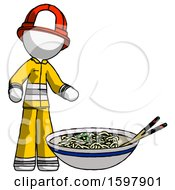 White Firefighter Fireman Man And Noodle Bowl Giant Soup Restaraunt Concept