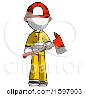White Firefighter Fireman Man Holding Red Fire Fighters Ax