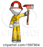 White Firefighter Fireman Man Holding Up Red Firefighters Ax