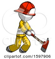 White Firefighter Fireman Man Striking With A Red Firefighters Ax
